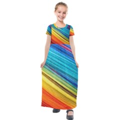 Rainbow Kids  Short Sleeve Maxi Dress by NSGLOBALDESIGNS2