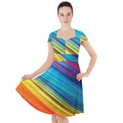 Rainbow Cap Sleeve Midi Dress by NSGLOBALDESIGNS2