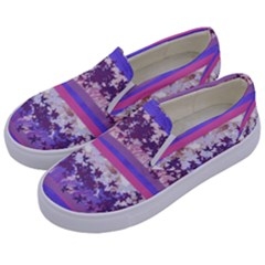 Abstract Pastel Pink Blue Kids  Canvas Slip Ons by snowwhitegirl