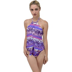 Abstract Pastel Pink Blue Go With The Flow One Piece Swimsuit