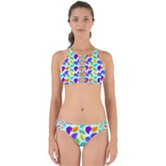 Colorful Leaves Blue Perfectly Cut Out Bikini Set by snowwhitegirl