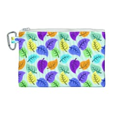 Colorful Leaves Blue Canvas Cosmetic Bag (large) by snowwhitegirl