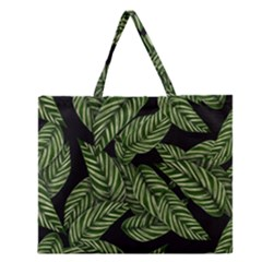 Tropical Leaves On Black Zipper Large Tote Bag by snowwhitegirl