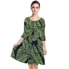 Tropical Leaves On Black Quarter Sleeve Waist Band Dress