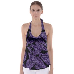 Tropical Leaves Purple Babydoll Tankini Top