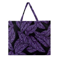 Tropical Leaves Purple Zipper Large Tote Bag by snowwhitegirl