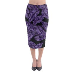 Tropical Leaves Purple Midi Pencil Skirt by snowwhitegirl