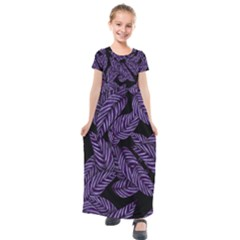 Tropical Leaves Purple Kids  Short Sleeve Maxi Dress