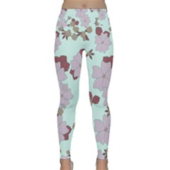 Vintage Floral Lilac Pattern Lightweight Velour Classic Yoga Leggings