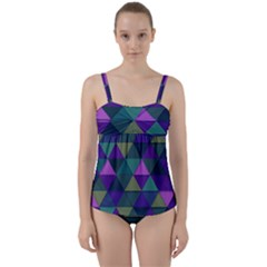 Blue Geometric Twist Front Tankini Set