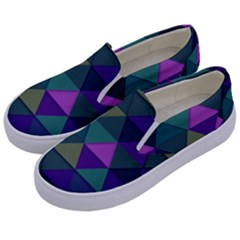 Blue Geometric Kids  Canvas Slip Ons by snowwhitegirl