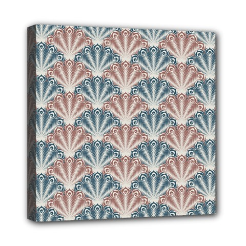 Vintage Scallop Blue Red Pattern Mini Canvas 8  X 8  (stretched)