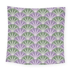 Vintage Scallop Violet Green Pattern Square Tapestry (large) by snowwhitegirl