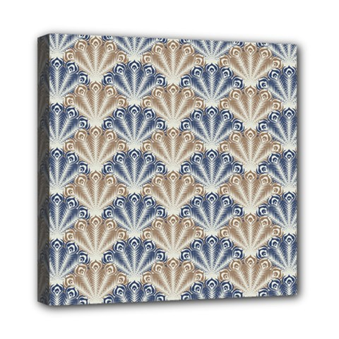 Vintage Scallop Beige Blue Pattern Mini Canvas 8  X 8  (stretched)