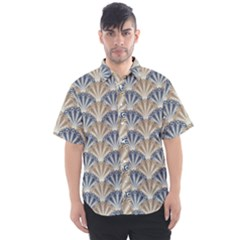 Vintage Scallop Beige Blue Pattern Men s Short Sleeve Shirt