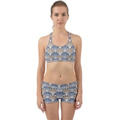 Vintage Scallop Beige Blue Pattern Back Web Gym Set