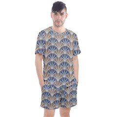Vintage Scallop Beige Blue Pattern Men s Mesh Tee And Shorts Set