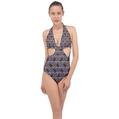 Gothic Church Pattern Halter Front Plunge Swimsuit