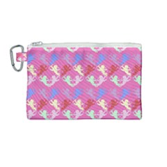 Colorful Cherubs Pink Canvas Cosmetic Bag (medium) by snowwhitegirl