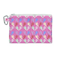 Colorful Cherubs Pink Canvas Cosmetic Bag (large) by snowwhitegirl