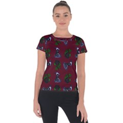 Gothic Girl Rose Red Pattern Short Sleeve Sports Top