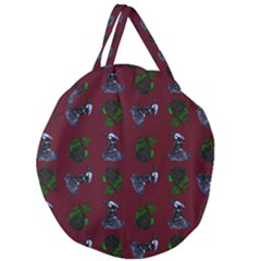 Gothic Girl Rose Red Pattern Giant Round Zipper Tote by snowwhitegirl