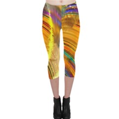 Orange Pink Sketchy Abstract Arch Capri Leggings