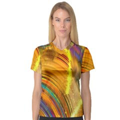 Orange Pink Sketchy Abstract Arch V Neck Sport Mesh Tee