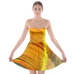 Orange Pink Sketchy Abstract Arch Strapless Bra Top Dress