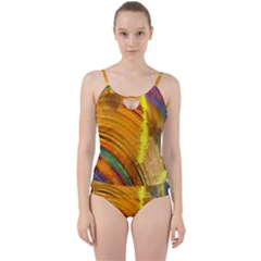 Orange Pink Sketchy Abstract Arch Cut Out Top Tankini Set