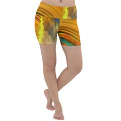 Orange Pink Sketchy Abstract Arch Lightweight Velour Yoga Shorts
