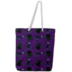 Gothic Girl Rose Purple Pattern Full Print Rope Handle Tote (large) by snowwhitegirl