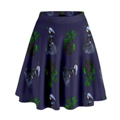 Gothic Girl Rose Blue Pattern High Waist Skirt