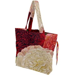 Vintage Carnation Flowers Drawstring Tote Bag by snowwhitegirl