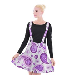 Retro Paisley Purple Suspender Skater Skirt by snowwhitegirl