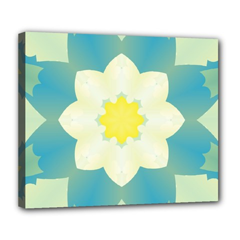 Pattern Flower Abstract Pastel Deluxe Canvas 24  X 20  (stretched)