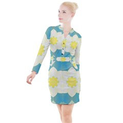Pattern Flower Abstract Pastel Button Long Sleeve Dress by Simbadda