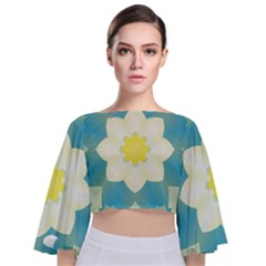 Pattern Flower Abstract Pastel Tie Back Butterfly Sleeve Chiffon Top