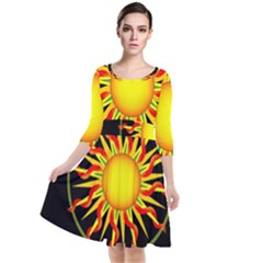 Mandala Sun Graphic Design Quarter Sleeve Waist Band Dress