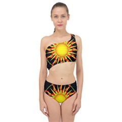 Mandala Sun Graphic Design Spliced Up Two Piece Swimsuit