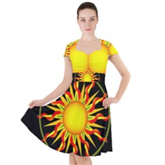Mandala Sun Graphic Design Cap Sleeve Midi Dress