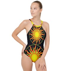 Mandala Sun Graphic Design High Neck One Piece Swimsuit