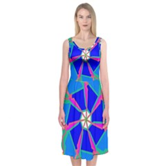 Mandala Wheel Pattern Ornament Midi Sleeveless Dress