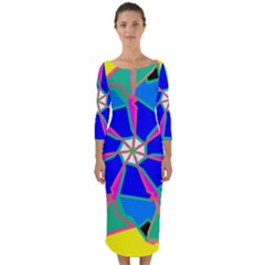 Mandala Wheel Pattern Ornament Quarter Sleeve Midi Bodycon Dress by Simbadda