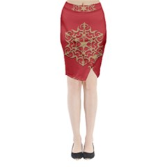 Ornament Flower Pattern Jewelry Midi Wrap Pencil Skirt