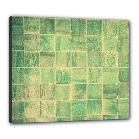 Abstract Green Tile Canvas 24  X 20  (stretched) by snowwhitegirl