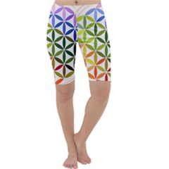 Mandala Rainbow Colorful Reiki Cropped Leggings  by Simbadda