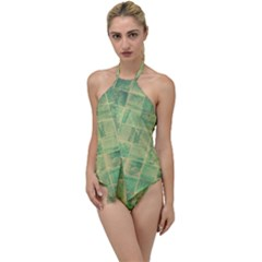 Abstract Green Tile Go With The Flow One Piece Swimsuit