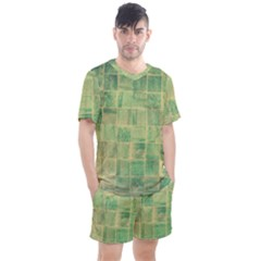 Abstract Green Tile Men s Mesh Tee And Shorts Set
