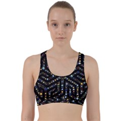 Symbol Wheel Mandala Design Back Weave Sports Bra by Simbadda
